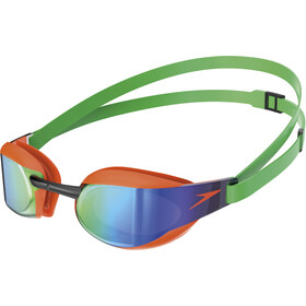 speedo Fastskin Elite Mirror Gogle, fluo orange/lawn green